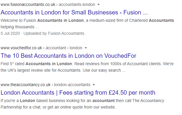 """Screen shot of Google Search Results page 1 for """"Accountants in London""""."""